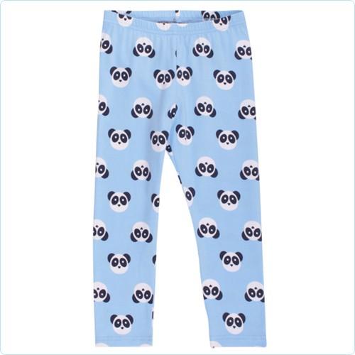 "Green Cotton Leggings MINI ""Pandabären Allover"" hellblau"