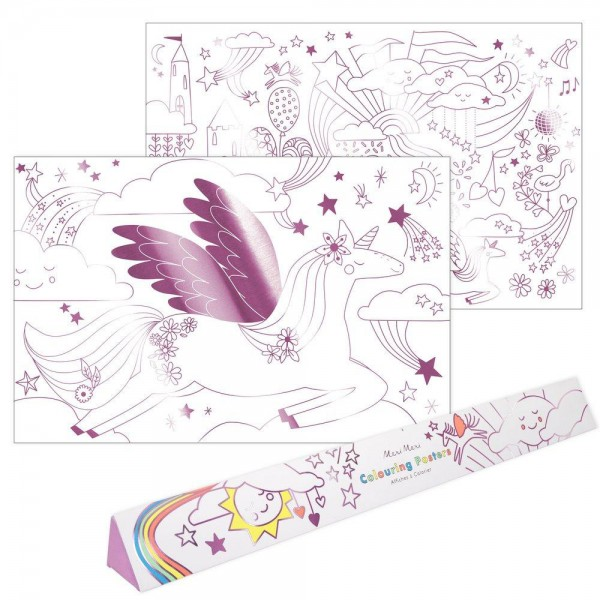 "2 Ausmal-Poster ""Einhorn"" Folienprint pink"