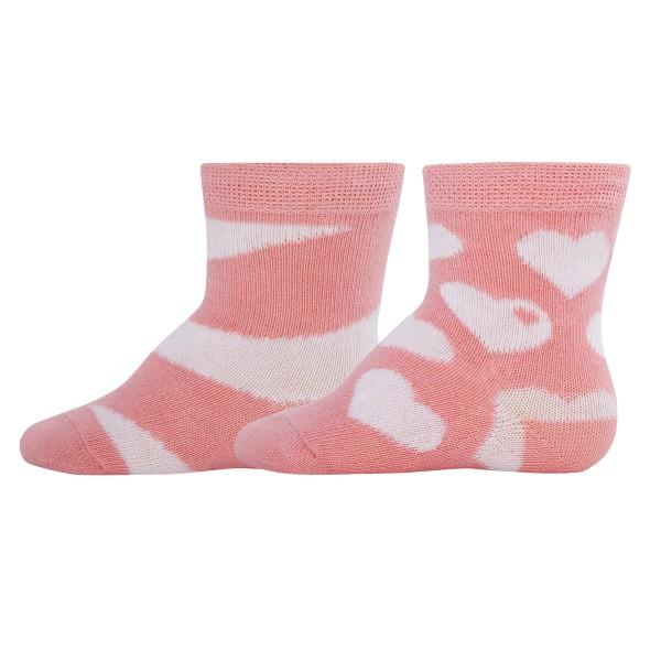 """2er-Pack Socken byGraziela """"Herzen & Ringel"""" altrosa"""