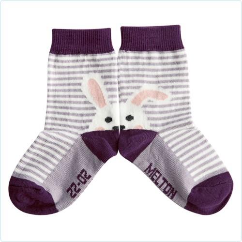 """Socken """"Hase mit Streifen"""" lila"""