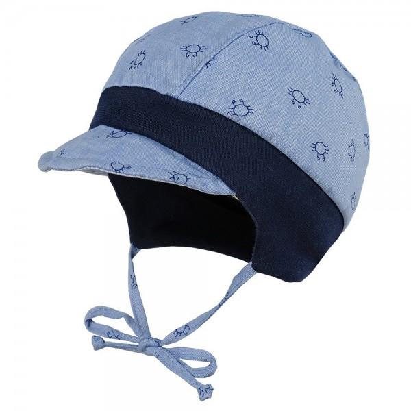 """Babymütze mit Schild """"Krabben"""" blau"""