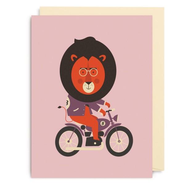 "Kleine Klappkarte ""Motorbike Lion"" Dawid Ryski"