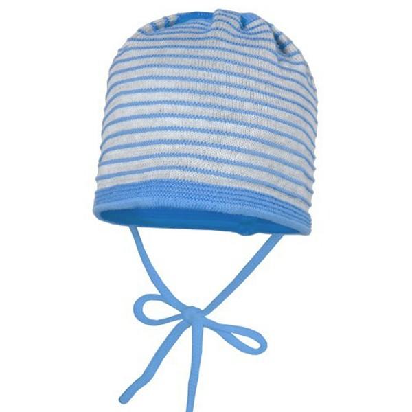 "Babymütze Strick ""Ringel"" grau hellblau"