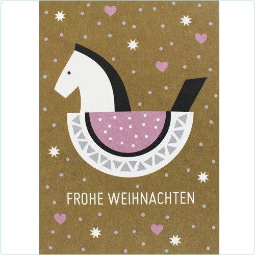 "Postkarte ""Schaukelpferd ocker/rosa"""