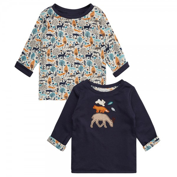 "Bio Baby-Wende-Shirt ""Applikation Waldtiere & Print"" marine"