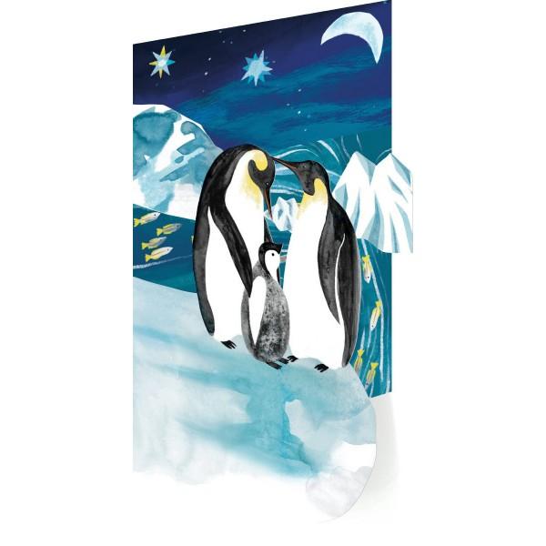 "Klappkarte Laserschnitt ""Penguin Trio"""