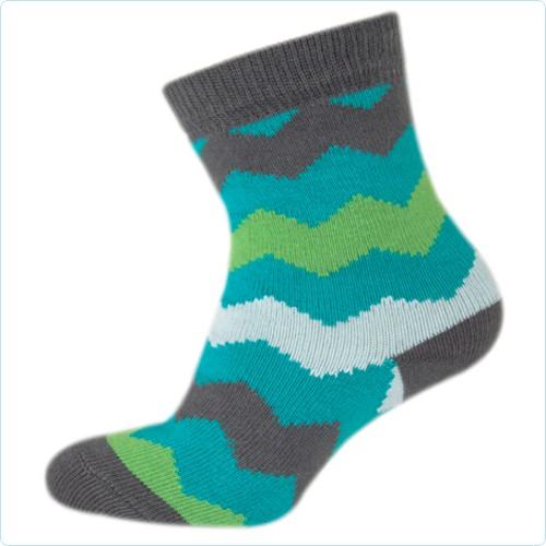 """Socken MINI """"Zig Zag"""" cyan/grün"""