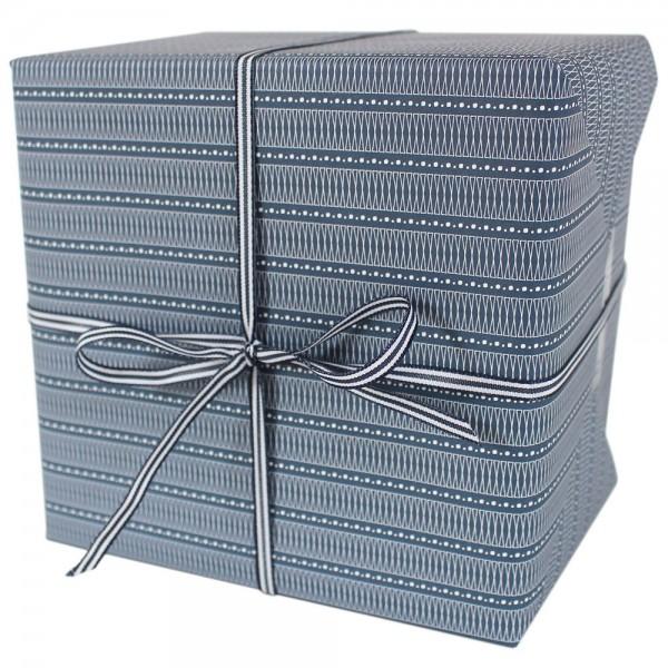 """Geschenkpapier """"Muster X-Schleifen & Punkte"""" blau"""