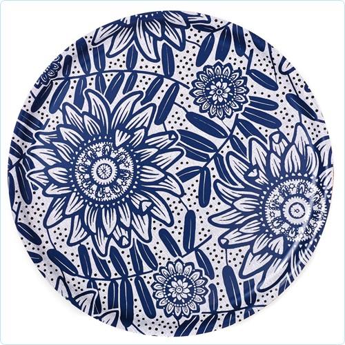 """Holz-Tablett """"Fleurs Bleues"""" ø 35 cm"""