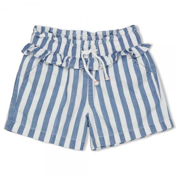 """Sommer-Shorts """"Rüschen & Streifen"""" weiß/jeansblau"""