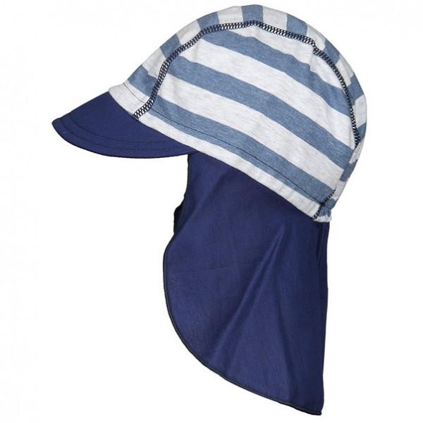 """Schildmütze mit Nackenschutz """"Streifen"""" grau/blau melange"""
