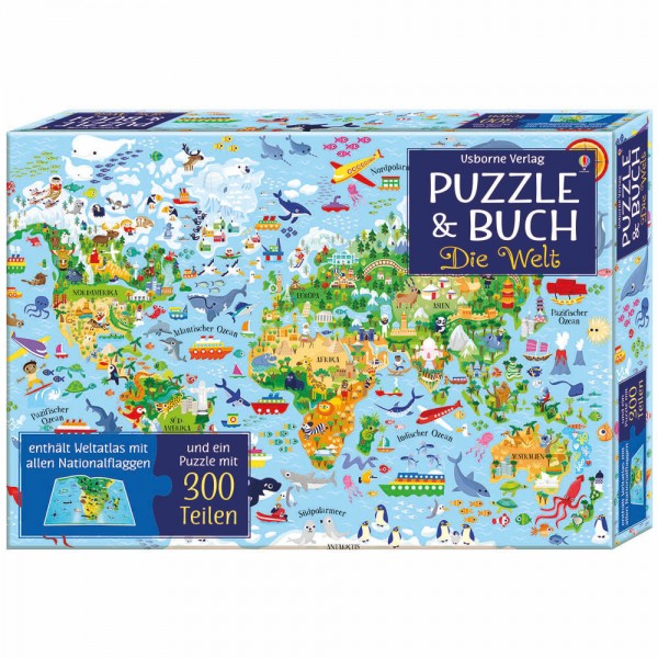 """Puzzle 300 Teile und Buch """"Die Welt"""""""