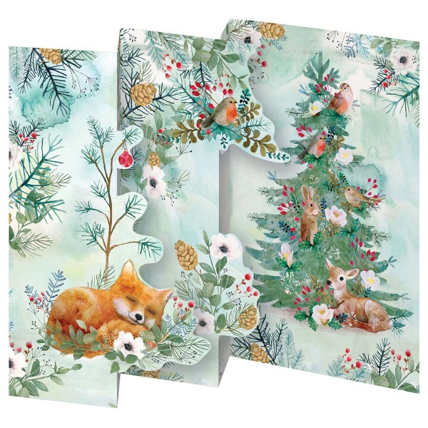"Lose Tri-Fold-Karte ""Christmas Tree Fox"""