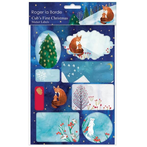 """Sticker-Etiketten 18 Stück """"Cub's first Christmas"""""""