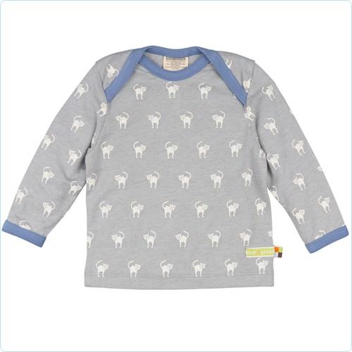 "Shirt 30% Wolle ""Katzen"" grau"