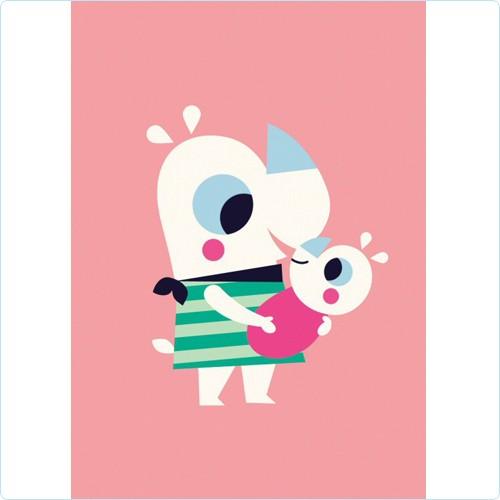 """Postkarte """"Rhino Girl"""" Tiago Americo"""