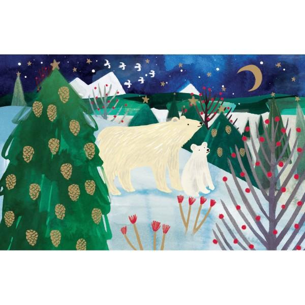 "Lose Klappkarte ""Polar Bear Christmas"" mit Goldprägung"