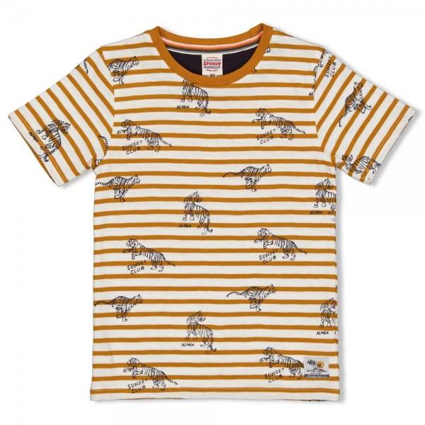 "Kurzarm-Shirt ""Ringel & Tiger"" ockergelb"