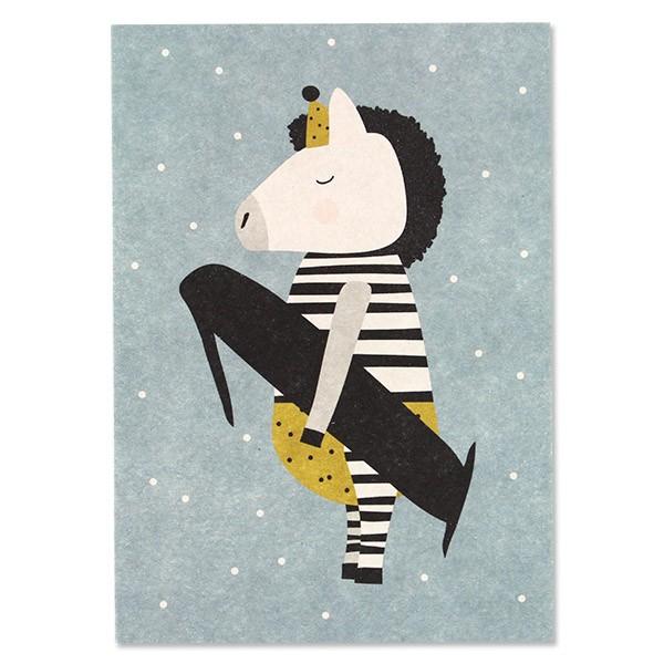 """Postkarte """"1 - Zebra"""""""