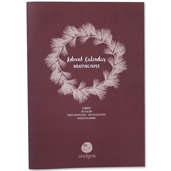 Adventskalender-Geschenkpapier weinrot/grün