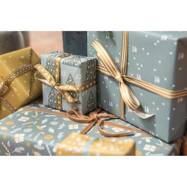 "Adventskalender-Geschenkpapier A3 ""Wichtel"" blaugrau/ocker"