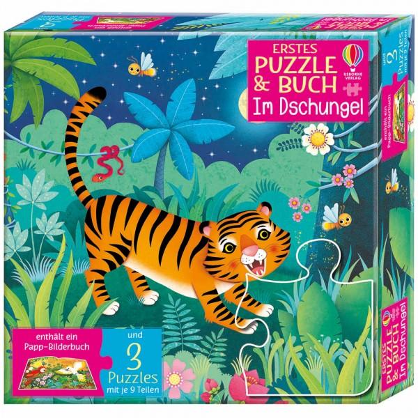 """Puzzle und Buch """"Im Dschungel"""" 3 Puzzle"""