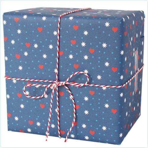 """Geschenkpapier """"Herzen, Sterne, Punkte"""" blau"""