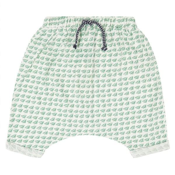 """Bio Baby-Shorts - weit - """"Kleine Papierflieger"""" grasgrün"""