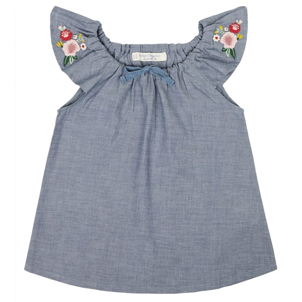 "Bio Chambray-Bluse ""Blüten-Stickerei"""