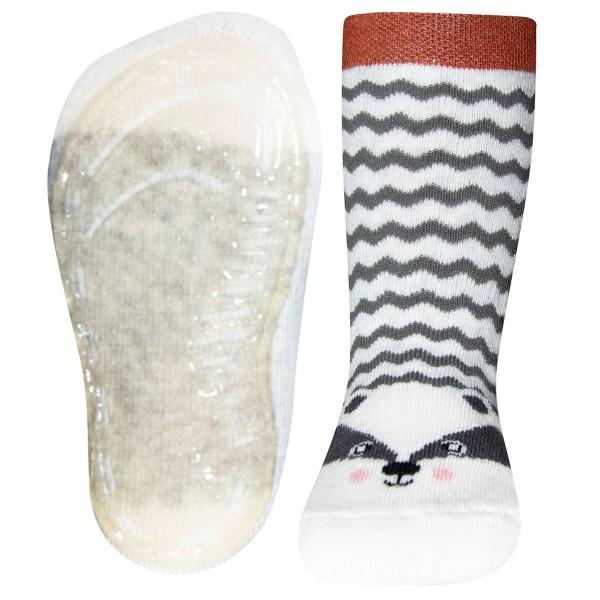 "Softstep-Vollsohle-Socken ""Dachs Zickzack"" grau melange"