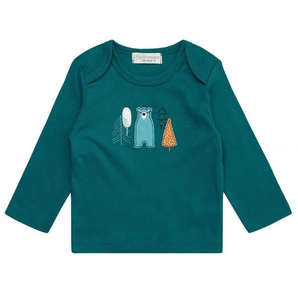"Bio Baby-Shirt ""Applikation Bär"" petrol"