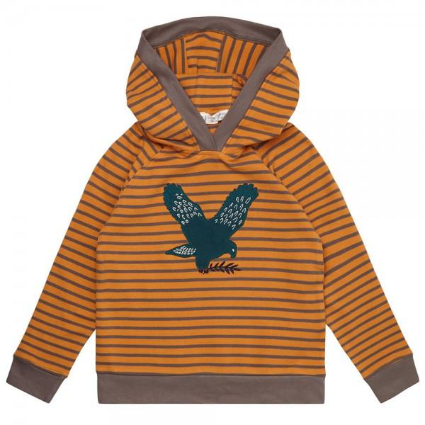 "Bio Kapuzen-Shirt ""Streifen & Applikation Adler"" orange/grau"