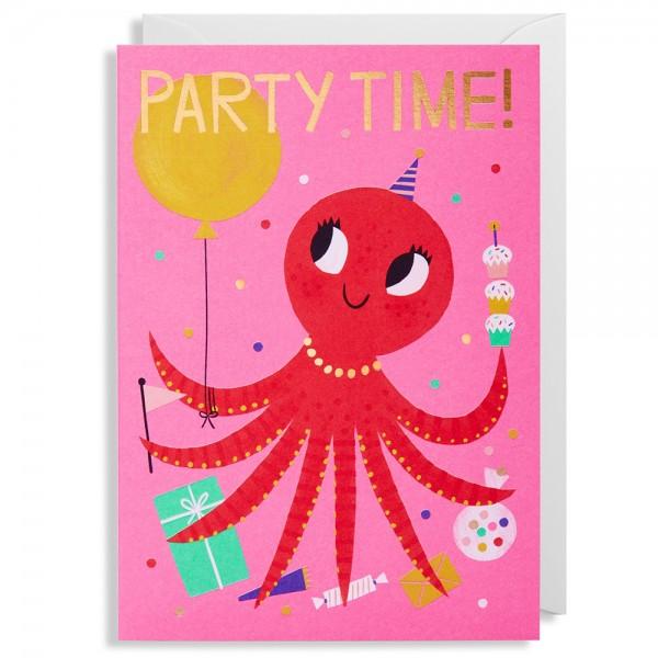 "Klappkarte Allison Black ""Party Time! Oktopus"""