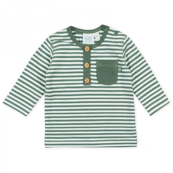 "Bio Baby-Shirt ""Ringel"" moosgrün/weiß"