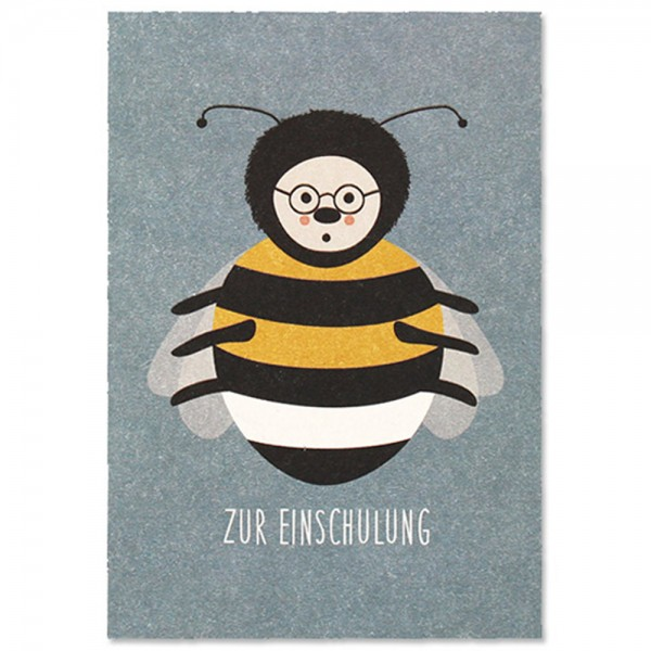 "Postkarte ""Zur Einschulung - Hummel"""