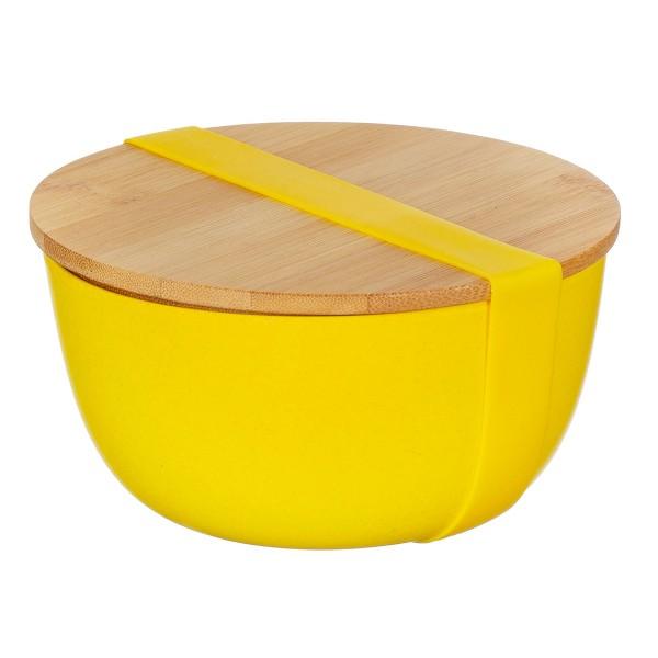 Bambusfaser-Lunchbox rund mit Bambusdeckel gelb