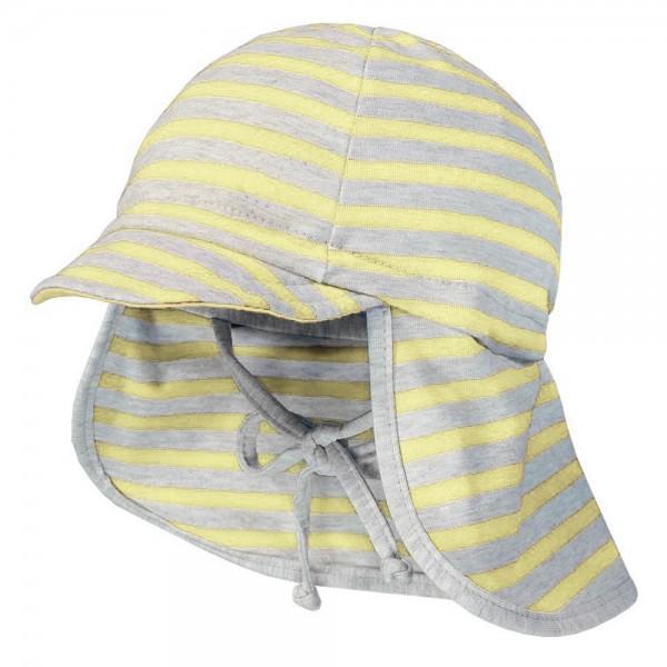 """Jersey-Mütze mit Nackenschutz """"Streifen"""" gelb/grau melange"""