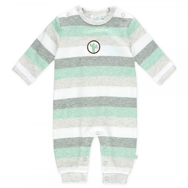 "Baby-Overall ""Streifen Kaktus"" grün/grau melange"
