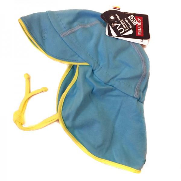 Jersey-Schildmütze mit Nackenschutz - opalblau/gelb