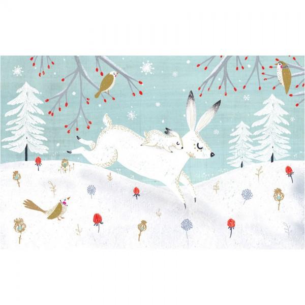 """Lose Klappkarte """"Snow Hare"""" mit Goldprägung"""