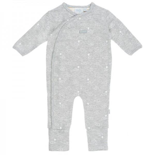 """Bio Baby-Overall mit Klappfüßen """"Elefanten"""" grau melange"""