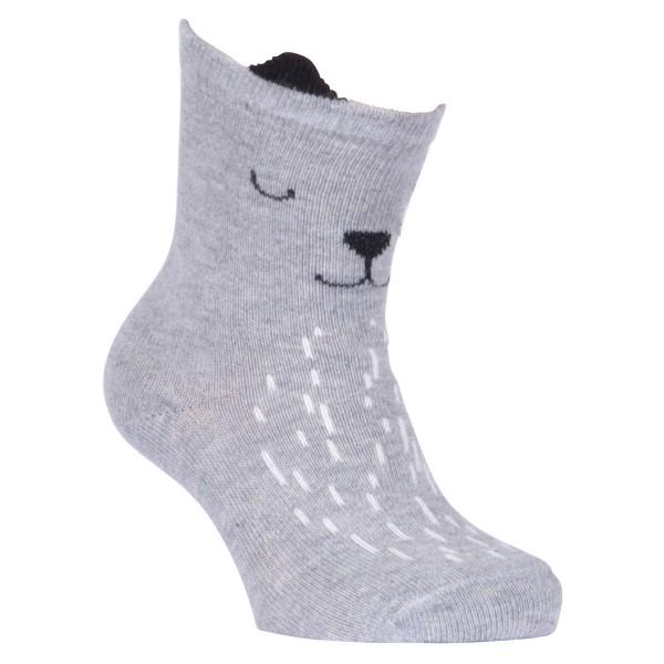 """Baby-Socken """"Hund mit Ohren"""" hellgrau melange"""