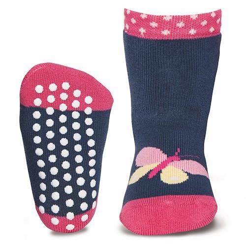 "ABS-Socken ""Schmetterling"" stahlblau"