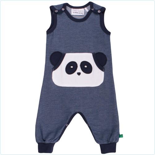 Playsuit Front-Applikation Pandabär denim