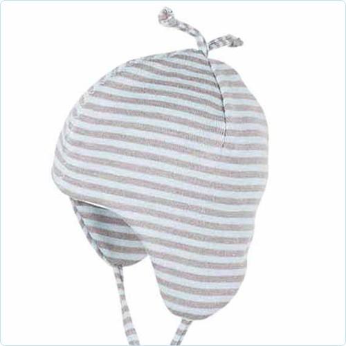 "Babymütze Merino/Seide ""Streifen grau/eisblau"""
