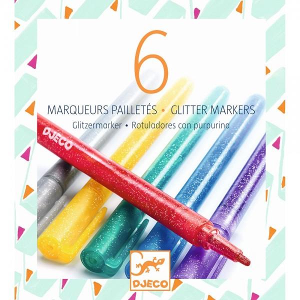 "6 Stifte ""Glitter-Marker"""