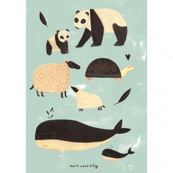 "Poster ""Animals black & white"" Marta A. Blay 50x70 cm"