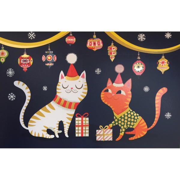 "Lose Klappkarte ""Cats at Christmas"" dunkelblau"