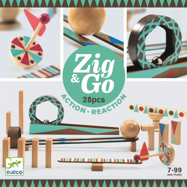 "Murmelbahn Kettenreaktionsspiel ""Zig & Go"" 28 Teile"