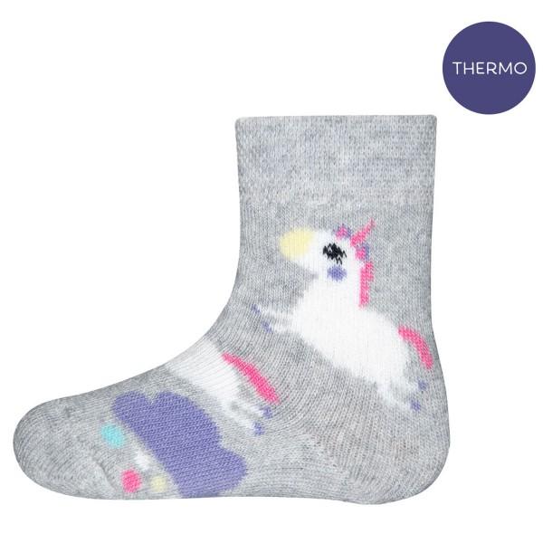"Thermo-Socken ""Einhorn"" hellsilber melange"